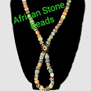 African Hand Painted Stone Beads